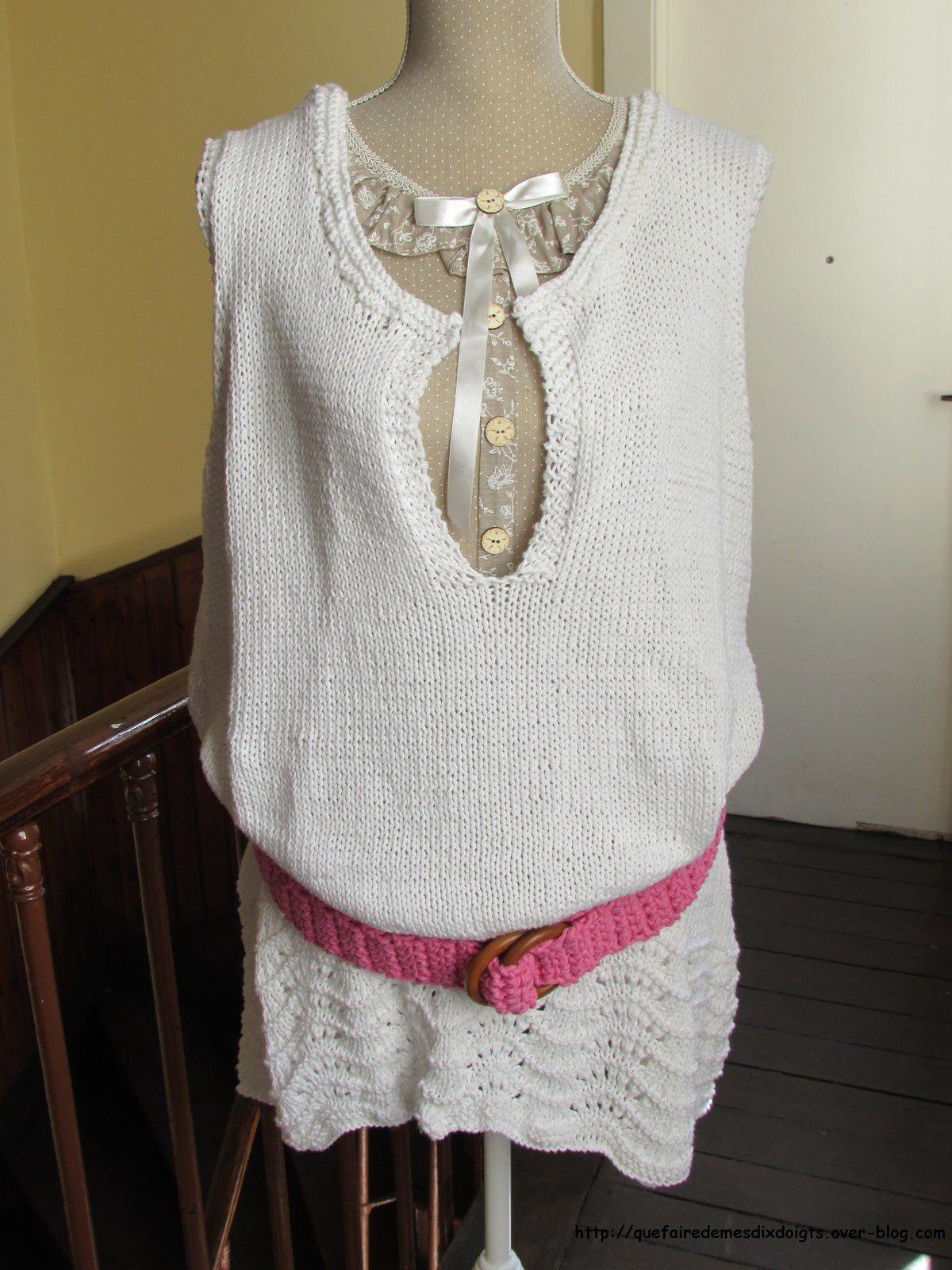 Tunique femme et ceinture au crochet