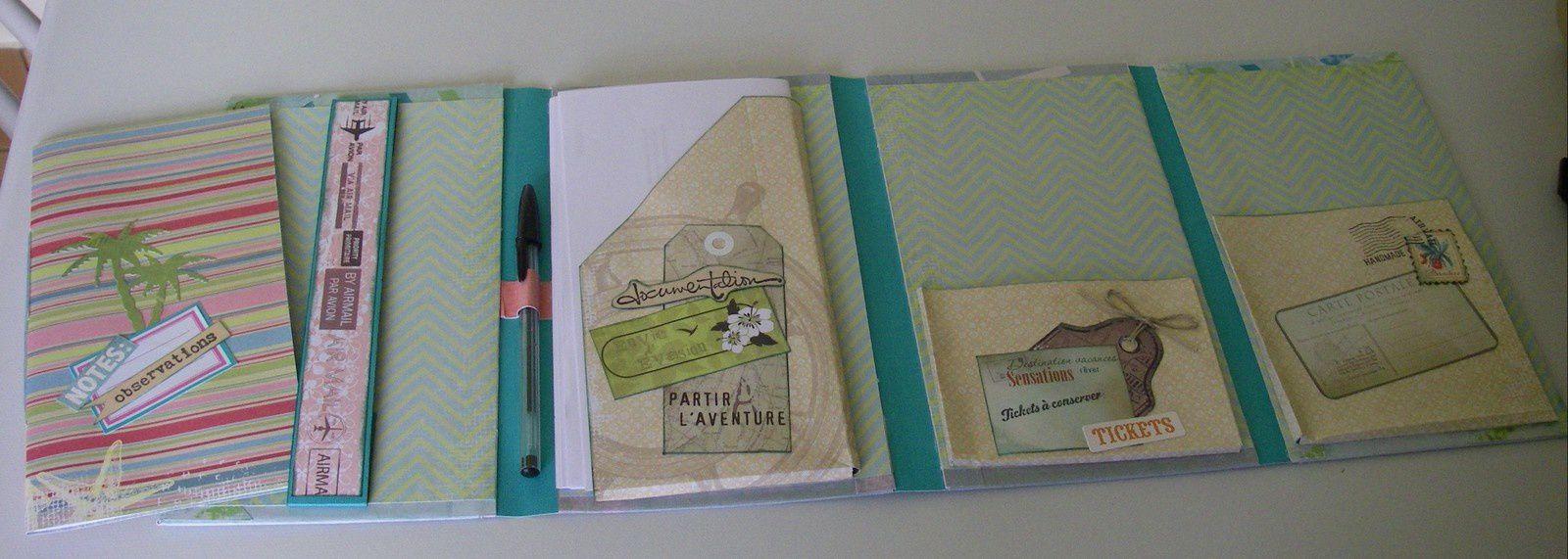 Contenant, entre autres, un Carnet de notes amovible qui pourra être glissé dans le sac de voyage.