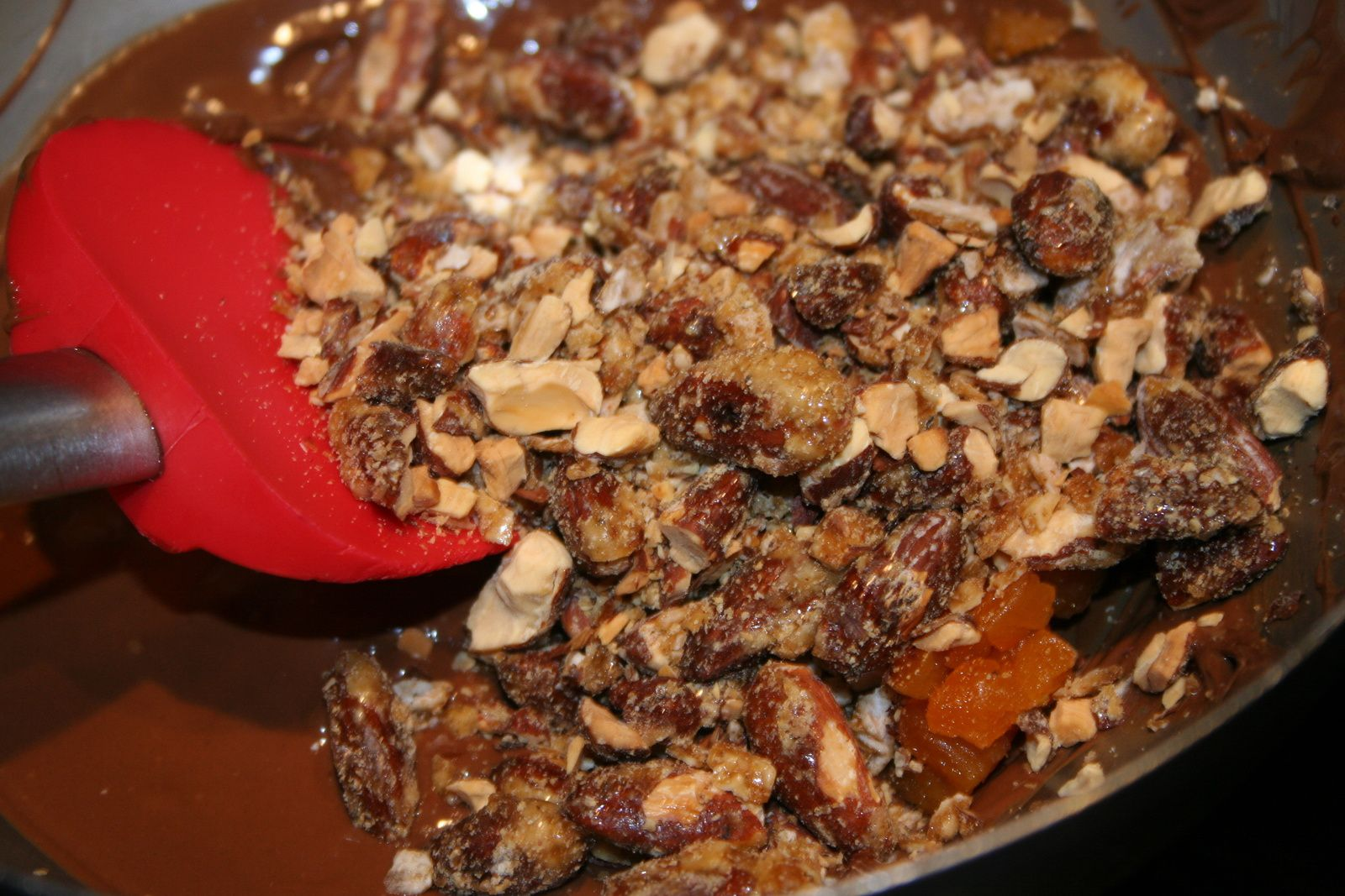 Chocolat lait-amande caramélisée , pointe de sel et abricot sec