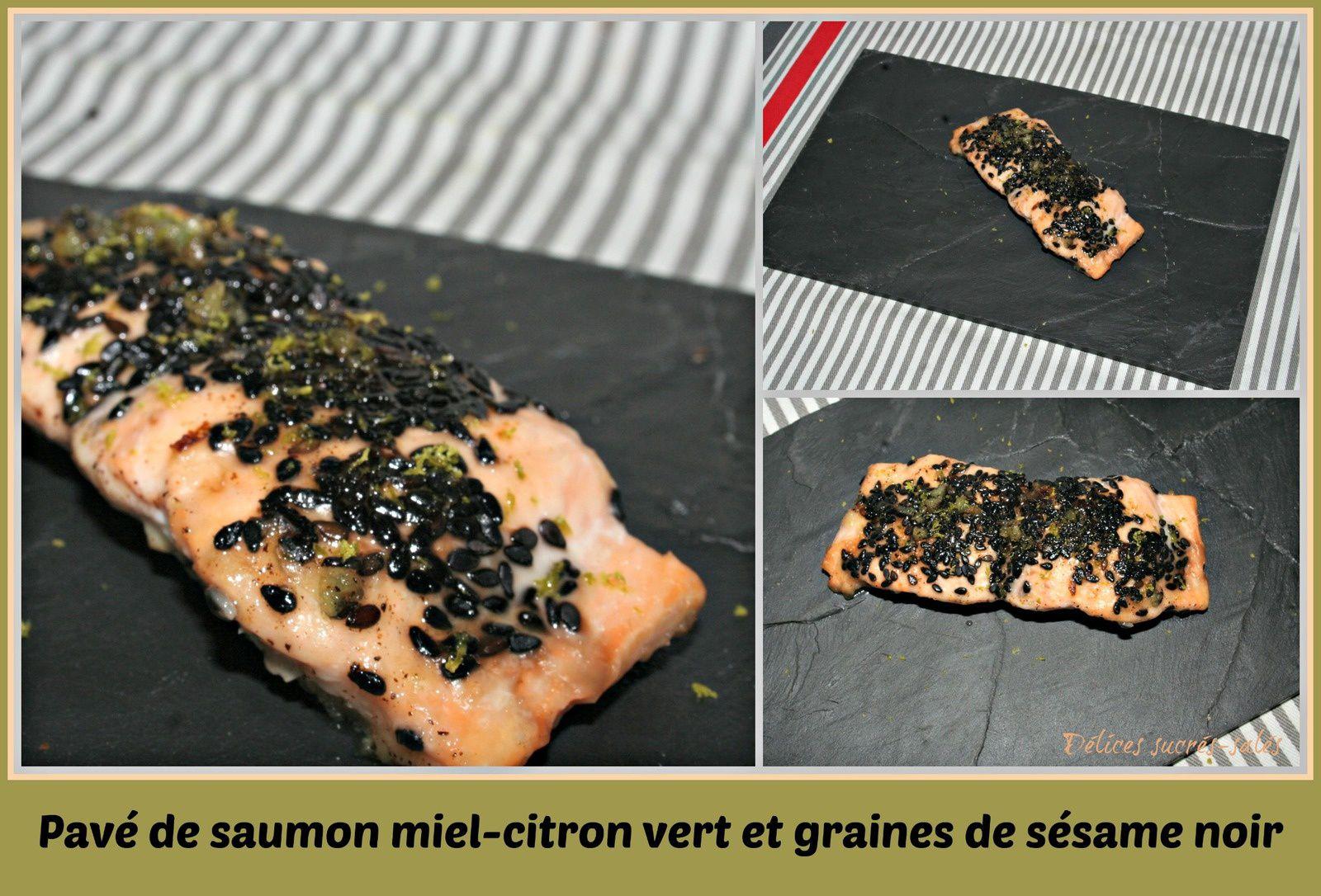 Pavé de saumon miel-citron vert et graines de sésame noir