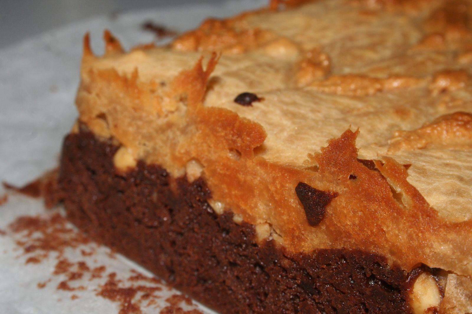 Carrés brownies-cheesecake au beurre de cacahuètes