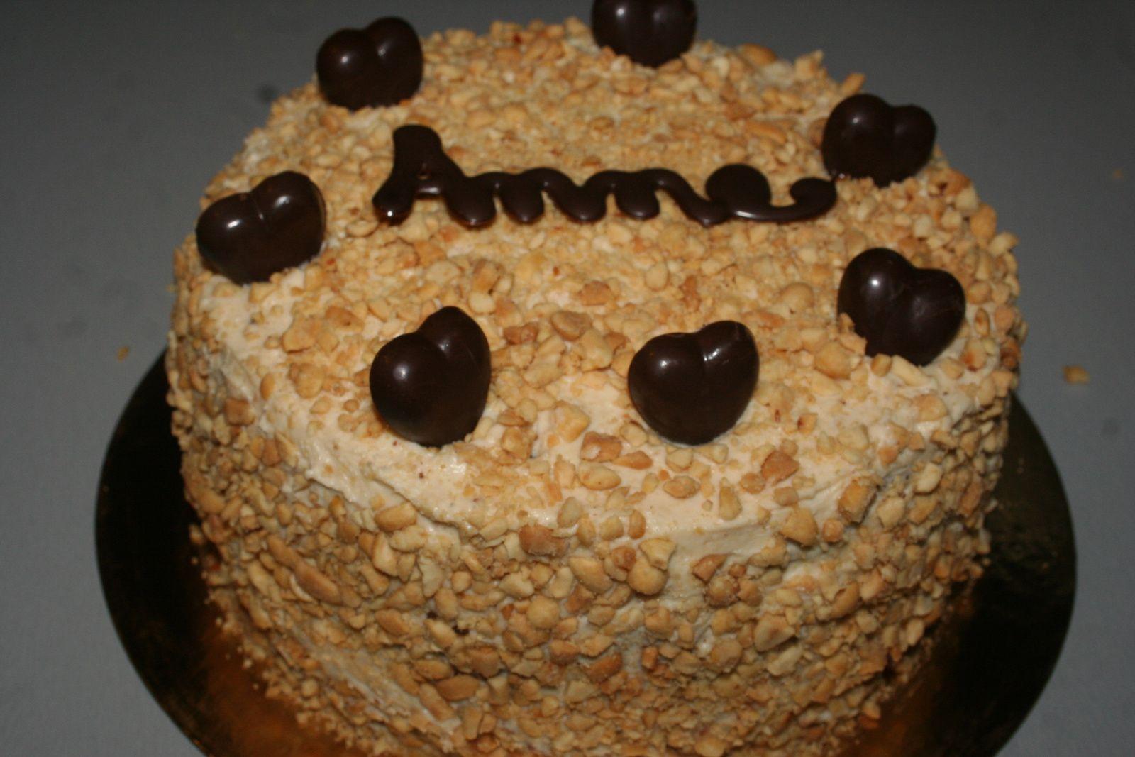 Layer cake choco-café et beurre de cacahuètes