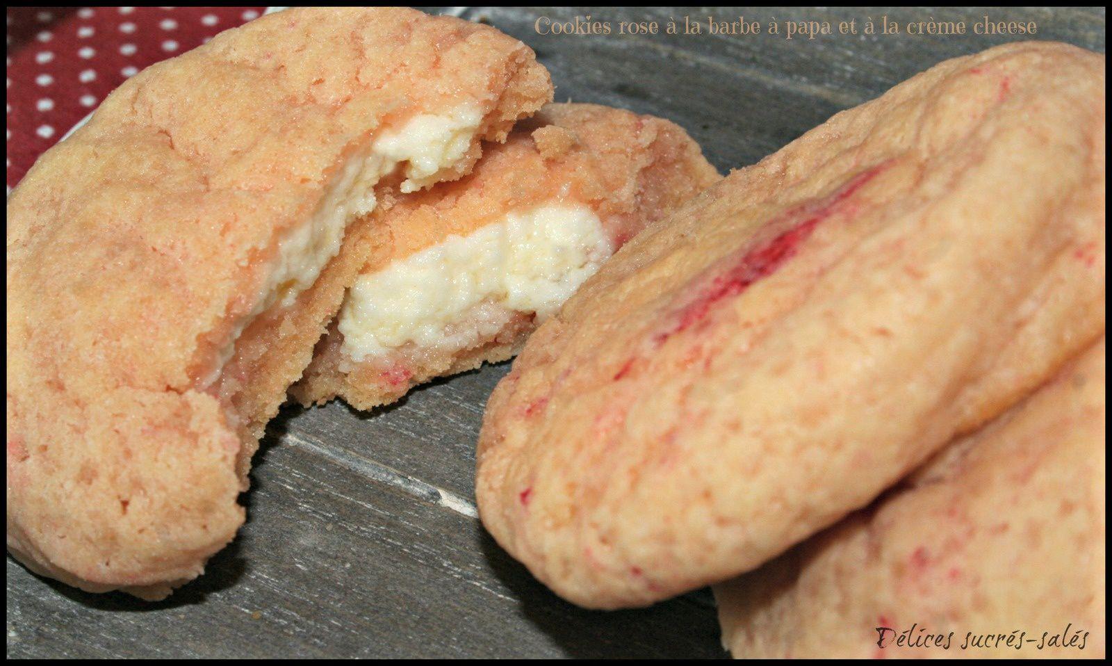 Cookies rose à la barbe à papa et à la crème cheese