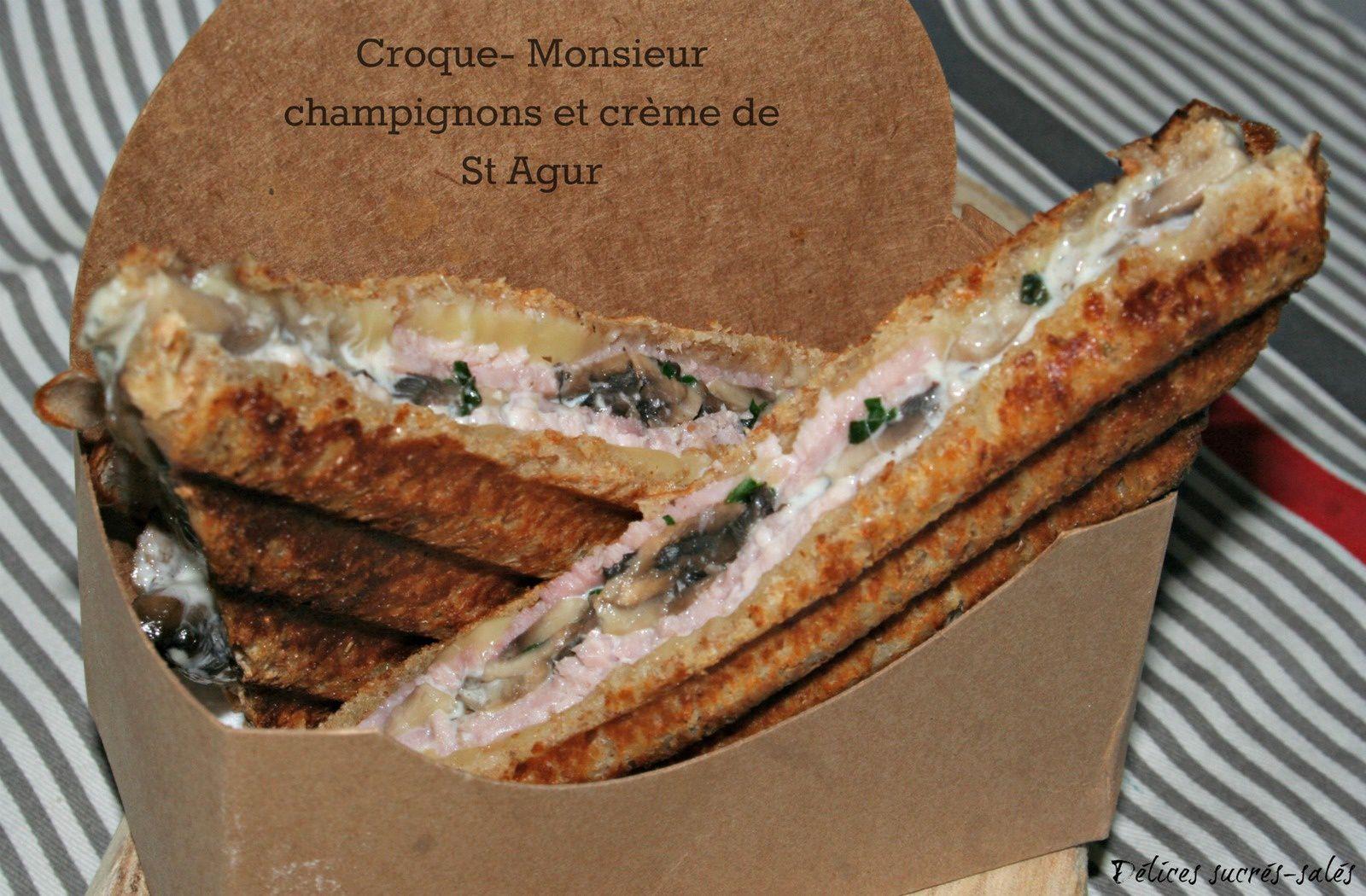 Croque- Monsieur champignons et crème de St Agur