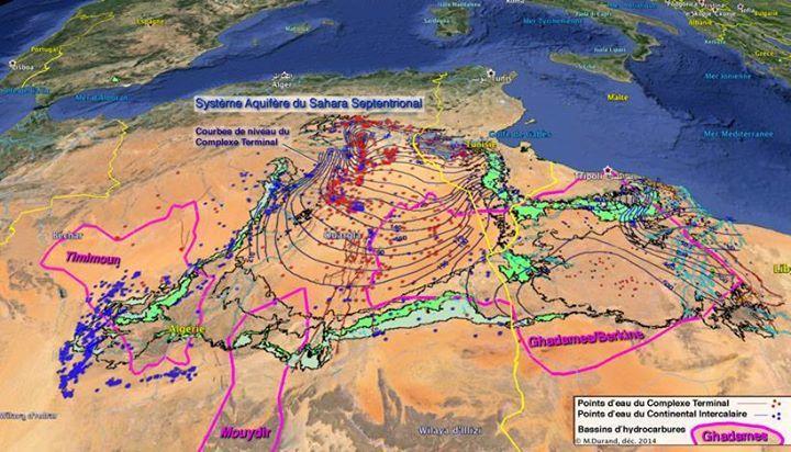 Figure 1  Vue oblique de trois bassins de roche mère (gaz et pétrole) au pourtour des aquifères du Sahara septentrional.