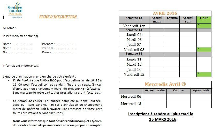 * INSCRIPTIONS AVRIL &amp&#x3B; VACANCES PRINTEMPS *