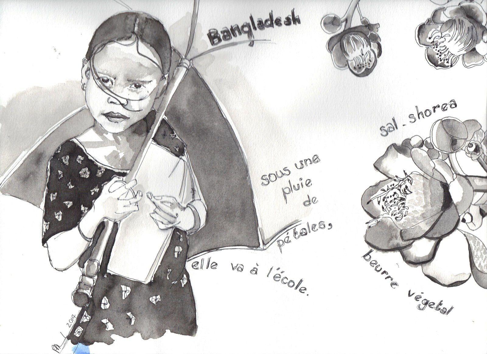 dessin au lavis d'encre de Chine, 24x32