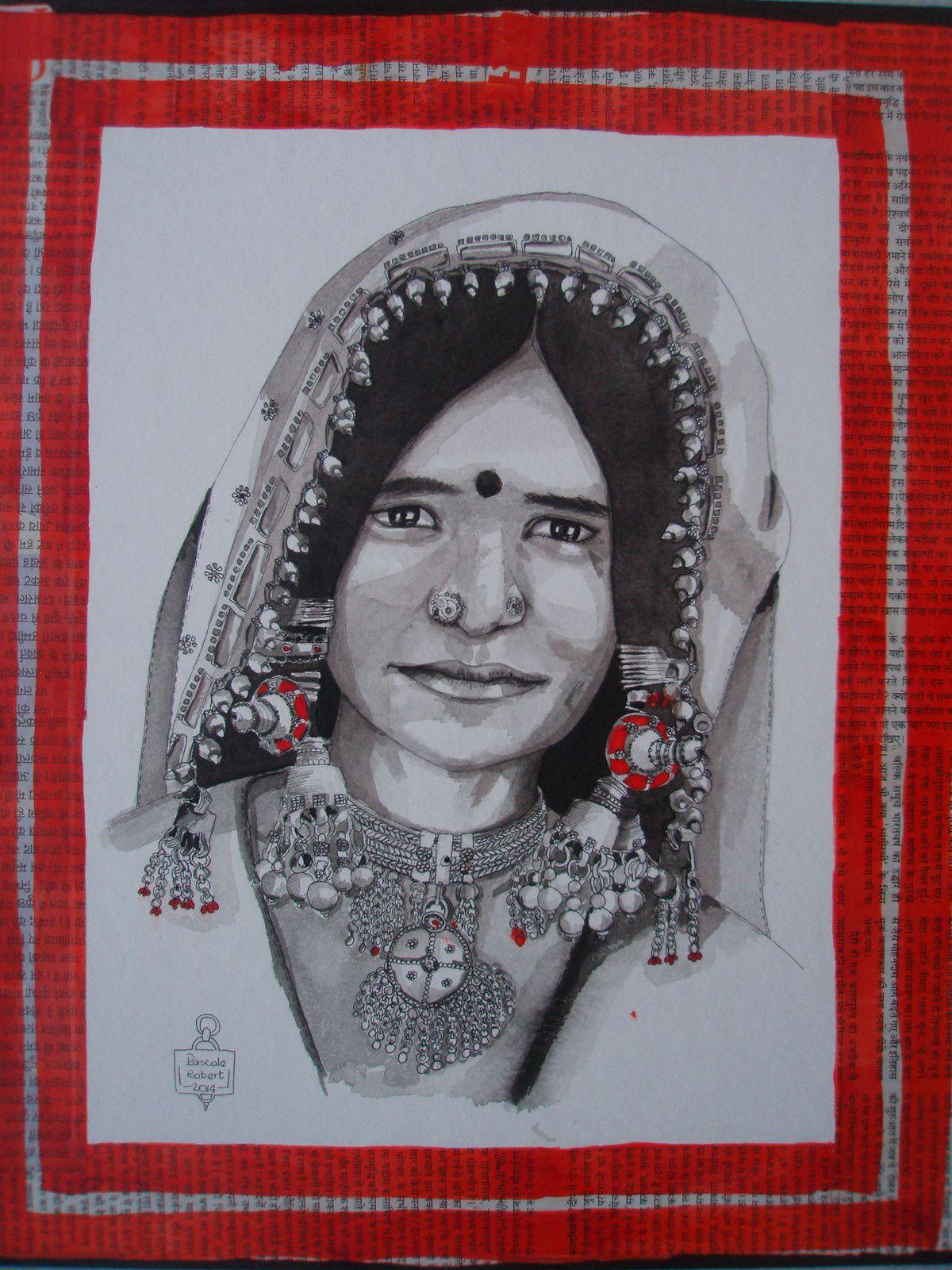 encre de chine, stylo, encre rouge, papier aquarelle et papier journal collés sur bois, 35x42