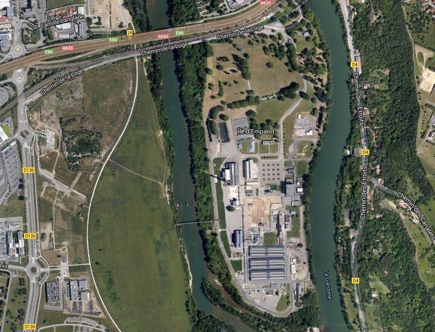 Le site Héraklès est situé entre le cratère AZF et le chemin des étroits au milieu de la Garonne