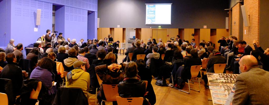 Elisabeth Belaubre, Tête de liste Belaubre2014, a répondu aux questions posées par le Couac le 27 janvier 2014 salle Osète à Toulouse