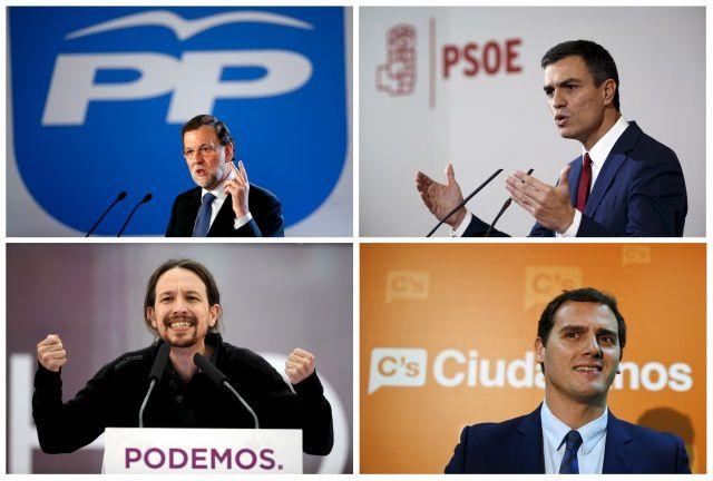 Mariano Rajoy, Pedro Sanchez, Pablo Iglesias, Albert Rivera Albert Gea/Paul Hanna/Eloy Alonso/Andrea Comas