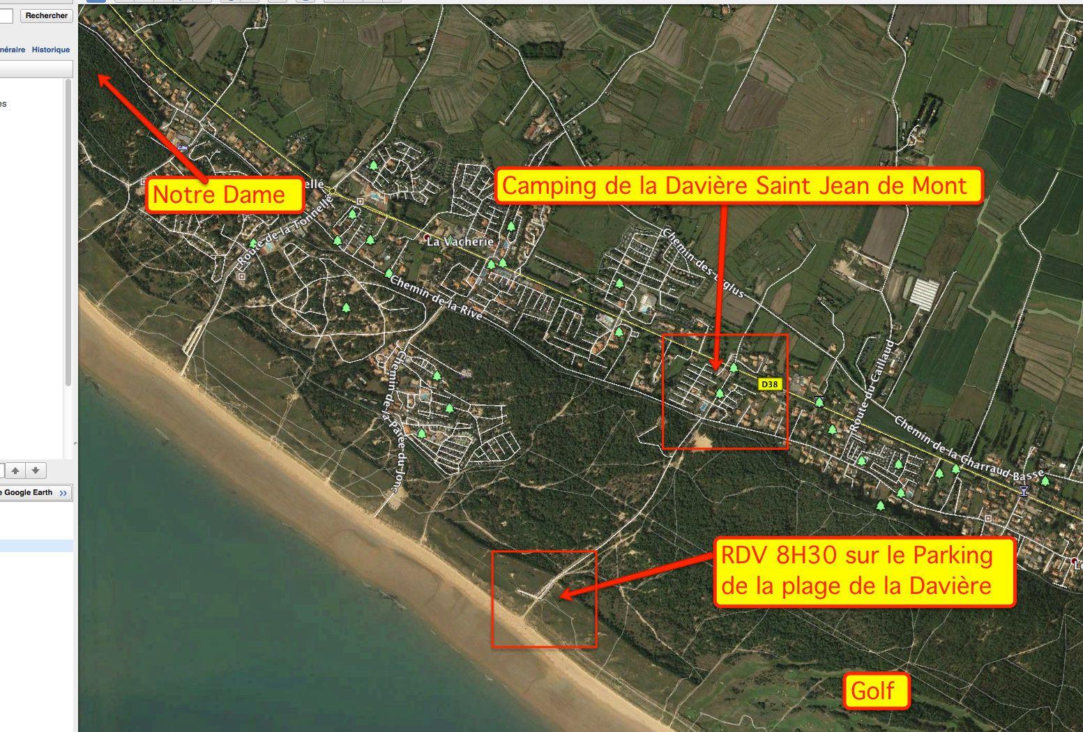 """Voici le lieu de RDV  8H30 sur le parking de la plage de la Davière à saint Jean-de-Monts proche du Golf à demain """"Cricri"""""""