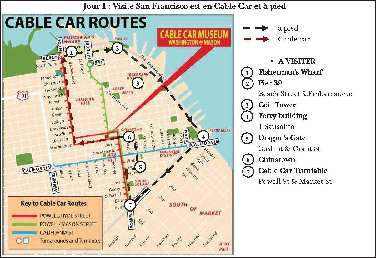 Itinéraire permettant de découvrir Downtown, Chinatown et Fisherman's Wharf