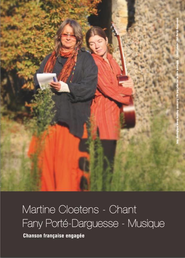 Vendredi 14 novembre 2014 à 21 heures 30 CONCERT : MARTINE CLOETENS Chant FANY PORTE DARGUESSE Musique