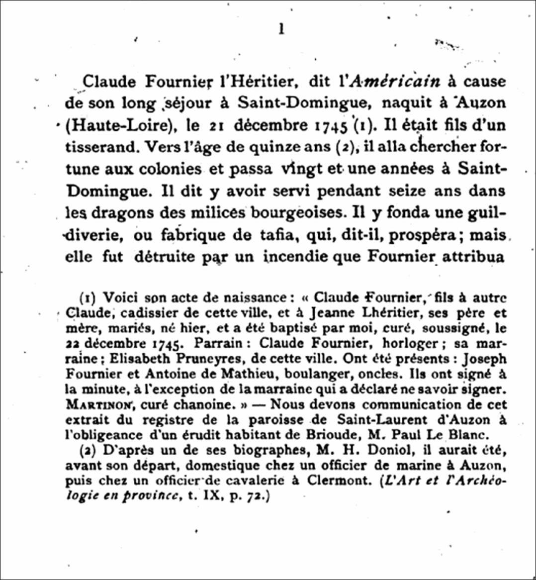 Personnalité né à Auzon:Claude Fournier dit L'américain