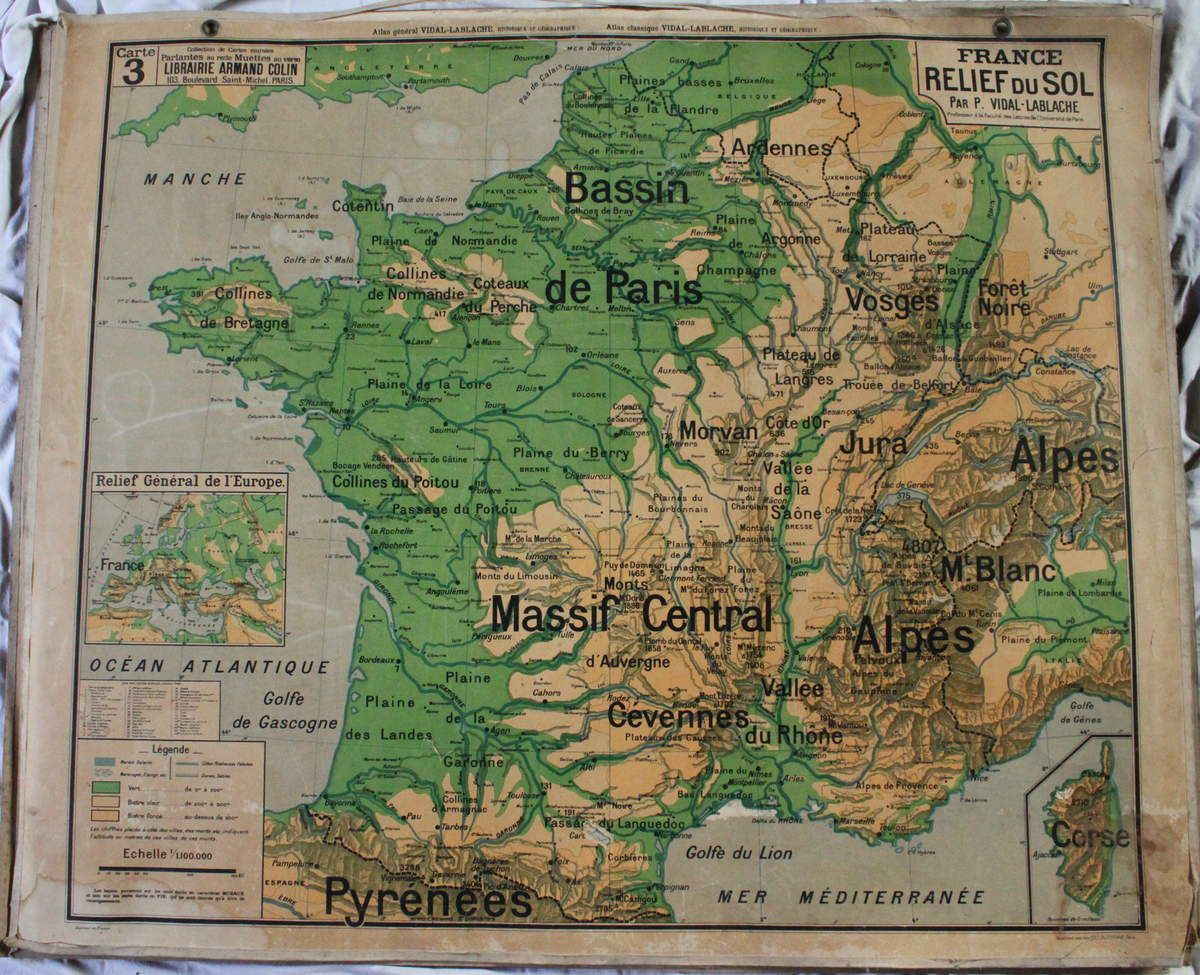 Cartes et archives de la nostalgie r publicaine - Carte de france murale ...