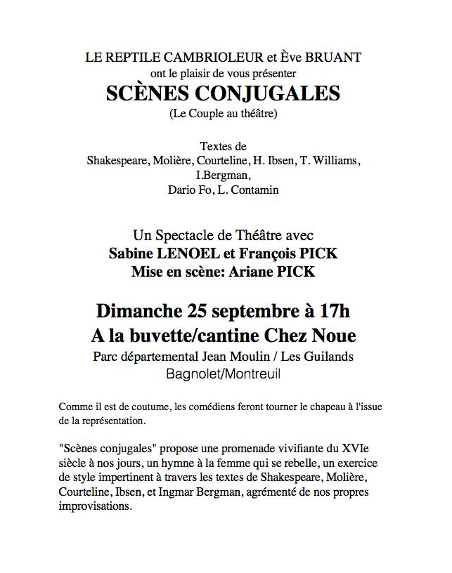 Représentation théâtrale dimanche 25 septembre à 17h sur la terrasse de la buvette Chez Noue