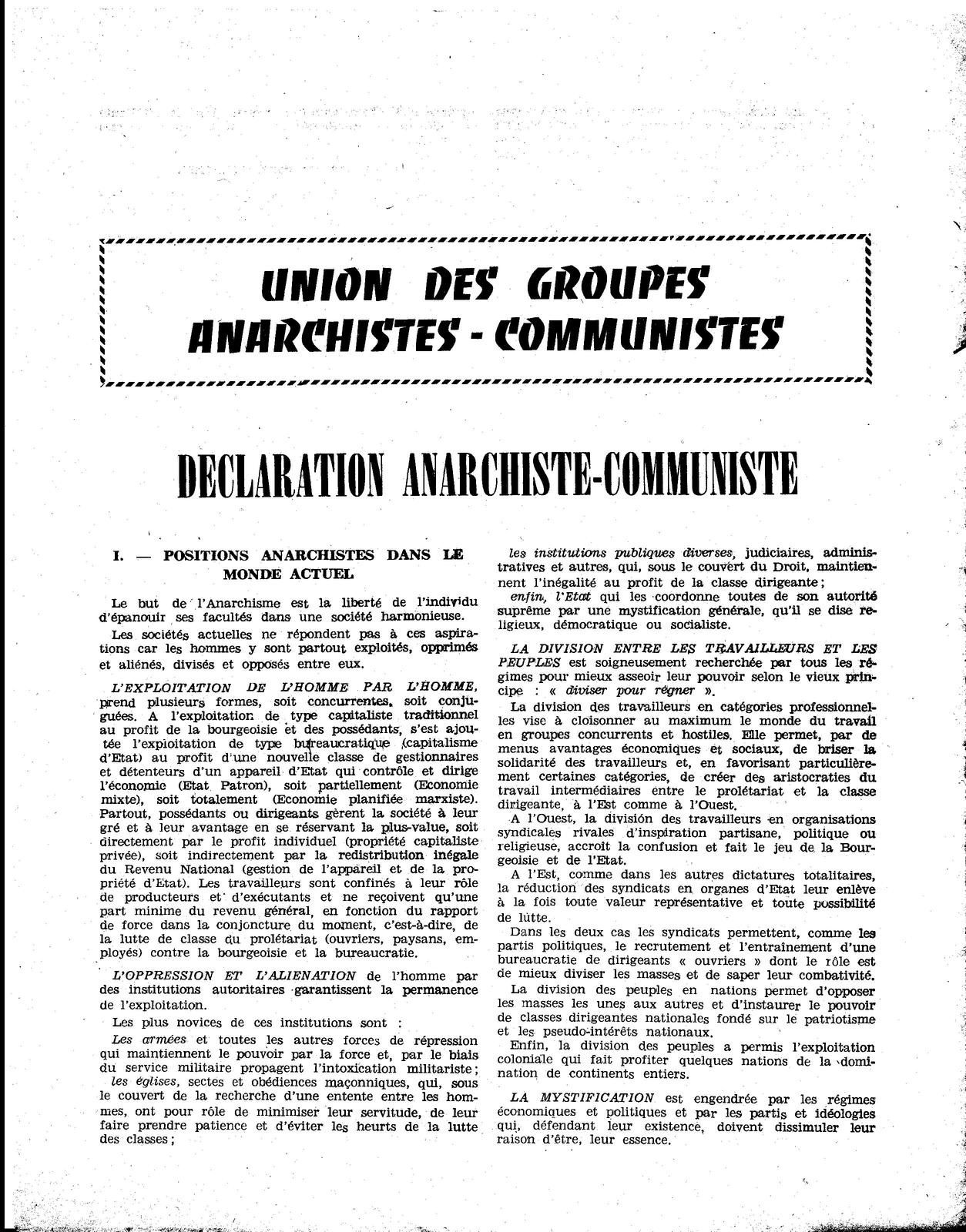 Déclaration anarchiste-communiste - Mai 1962