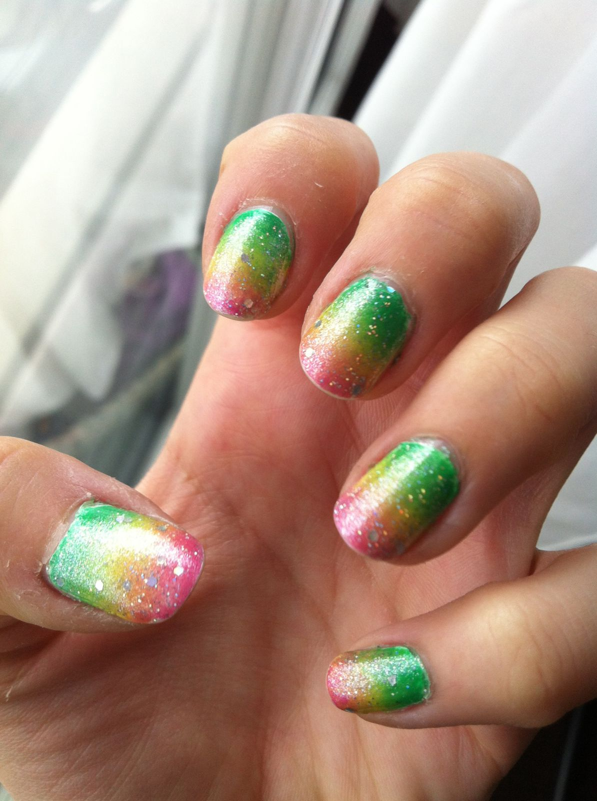 kawaii glitter star gradient nail