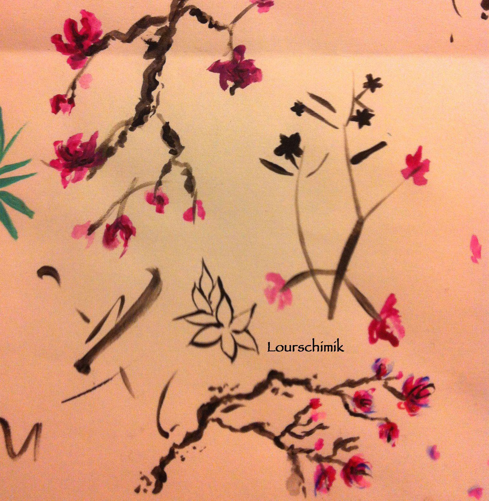 nail art fleurs de cerisier façon aquarelle