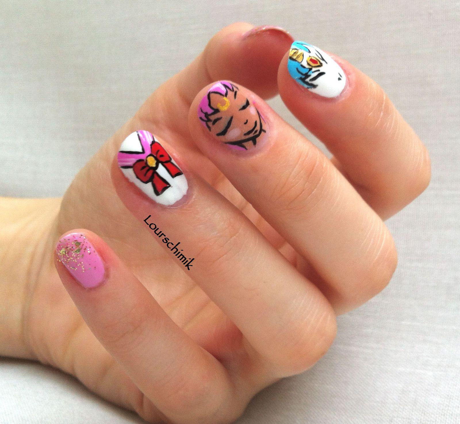 nailstorming dessin animé - chibiusa nail art