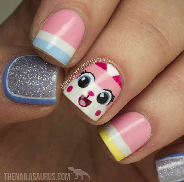 unikitty nail art - good side version