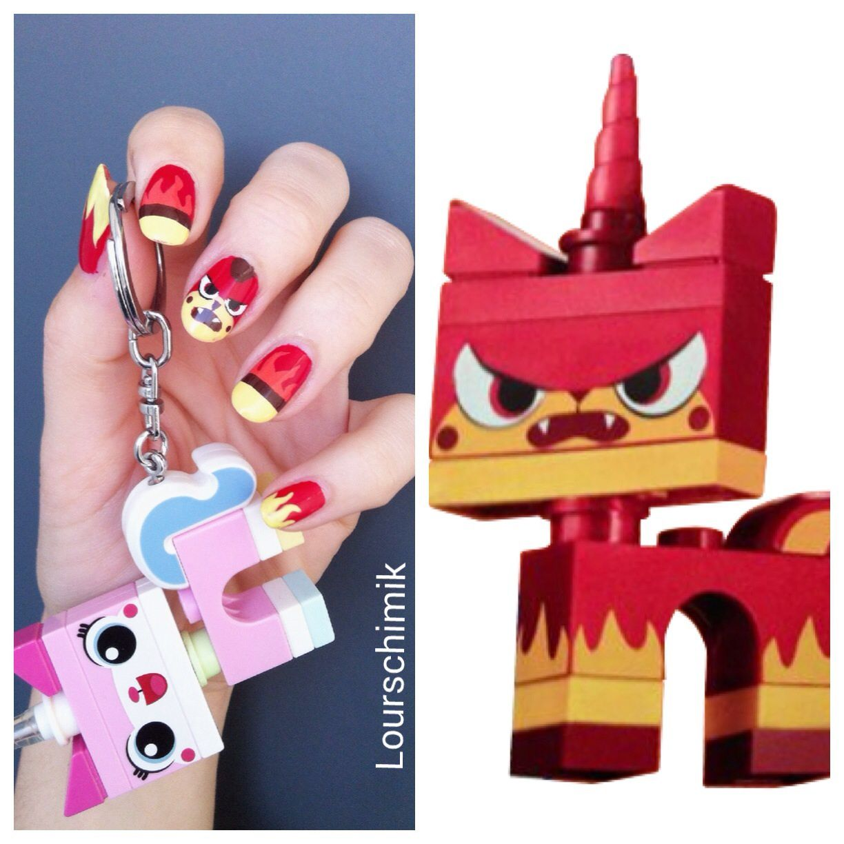 unikitty nail art - dark version + tuto