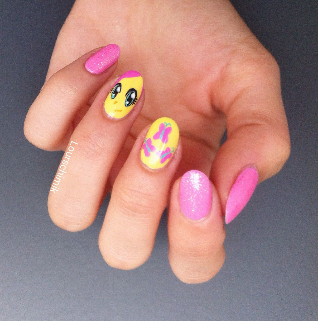 Fluttershy nail art - my little pony