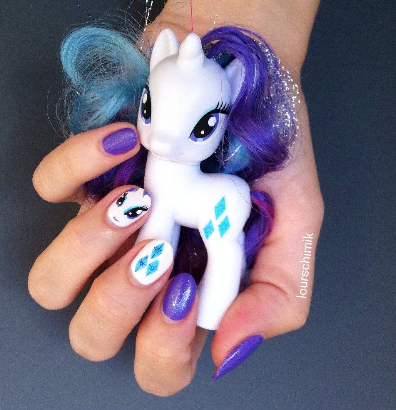 Rarity nail art - my little pony
