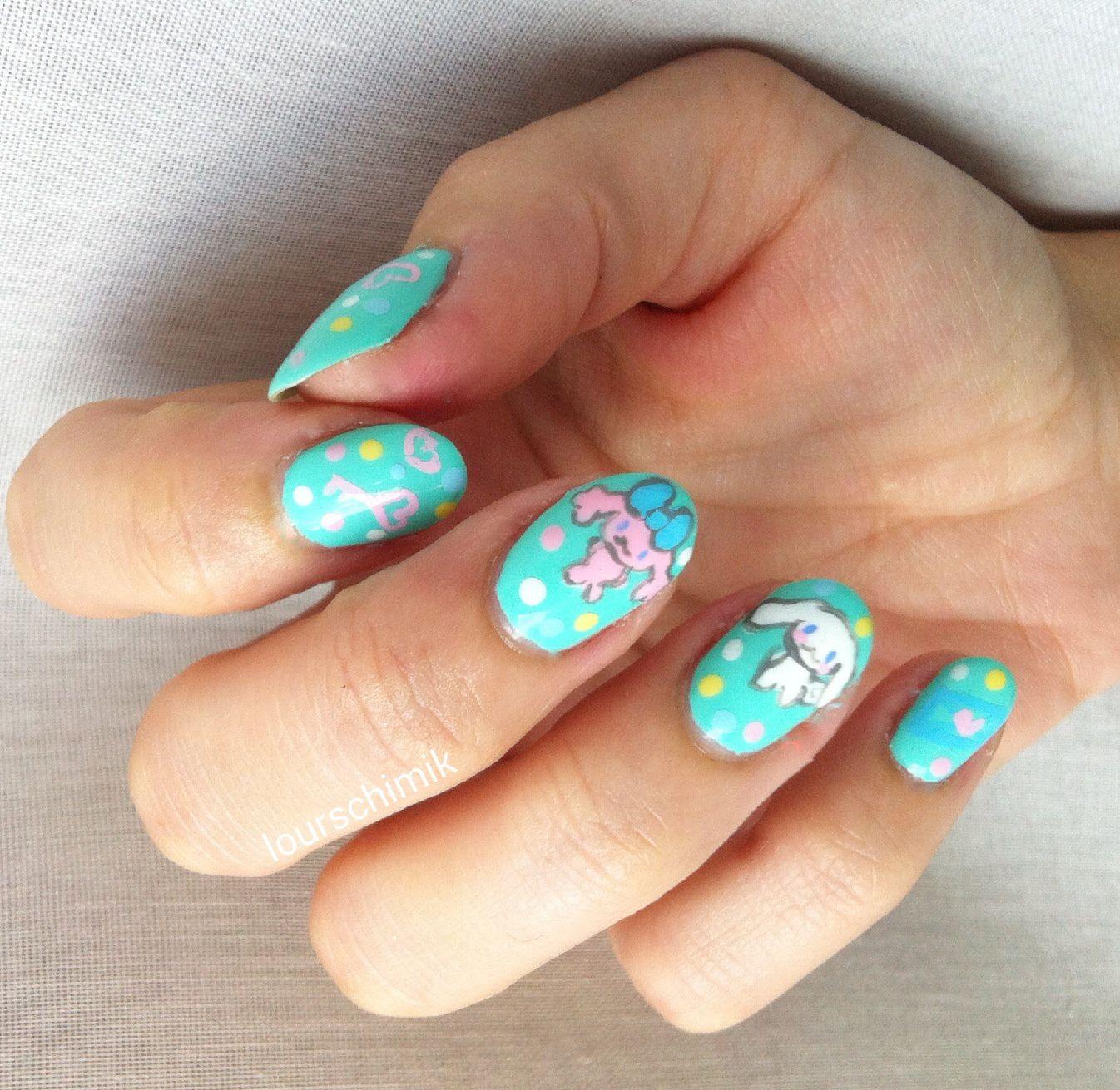 nailstorming assortie à sa déco - cinnamoroll nail art