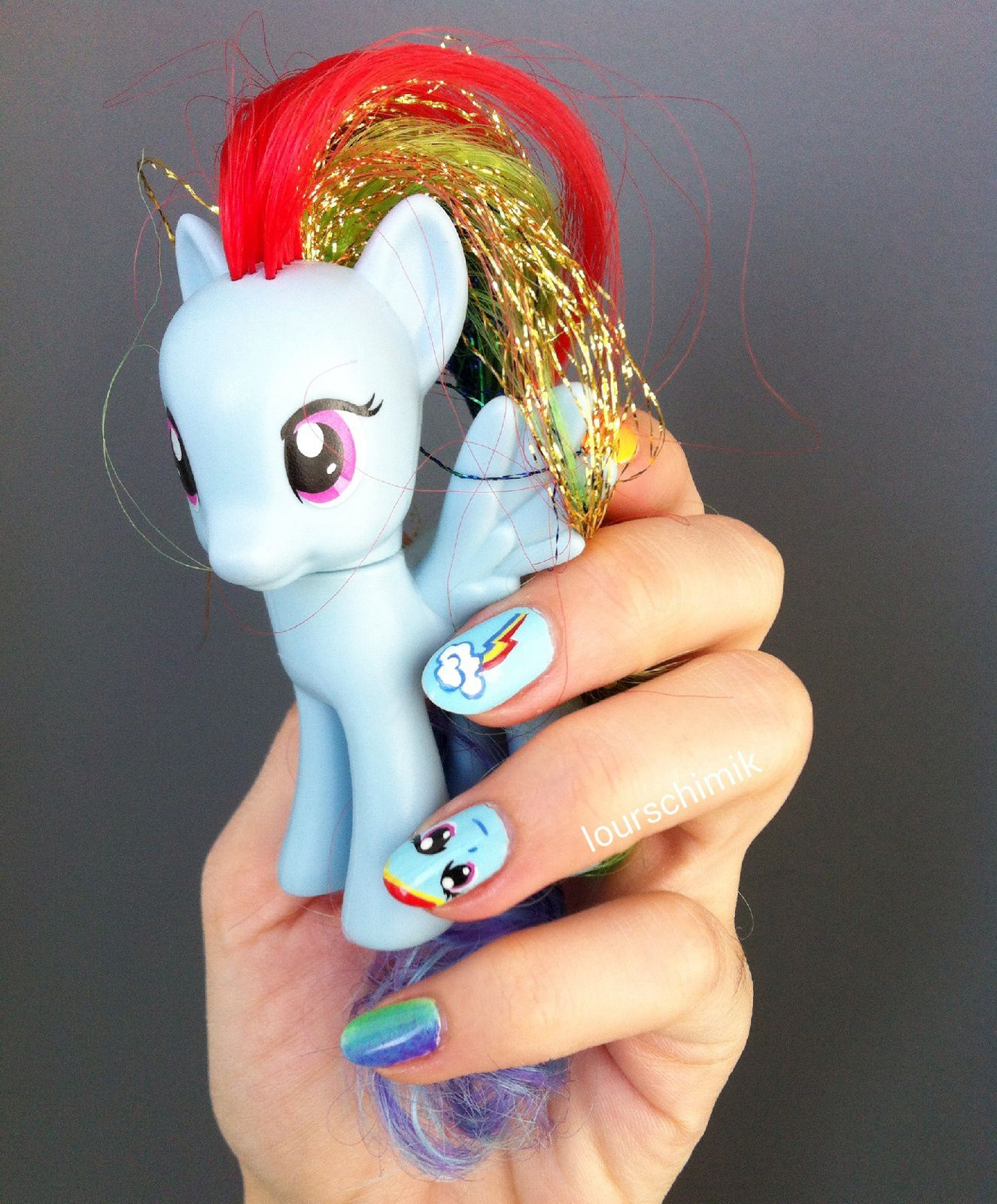 rainbow dash nail art - my little pony