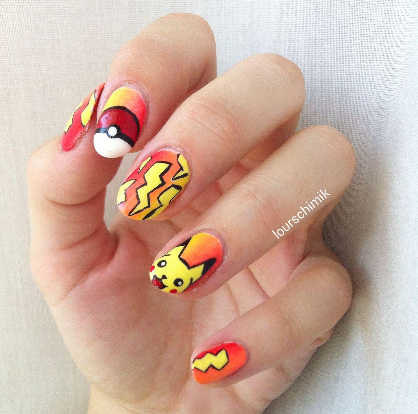pikachu nail art