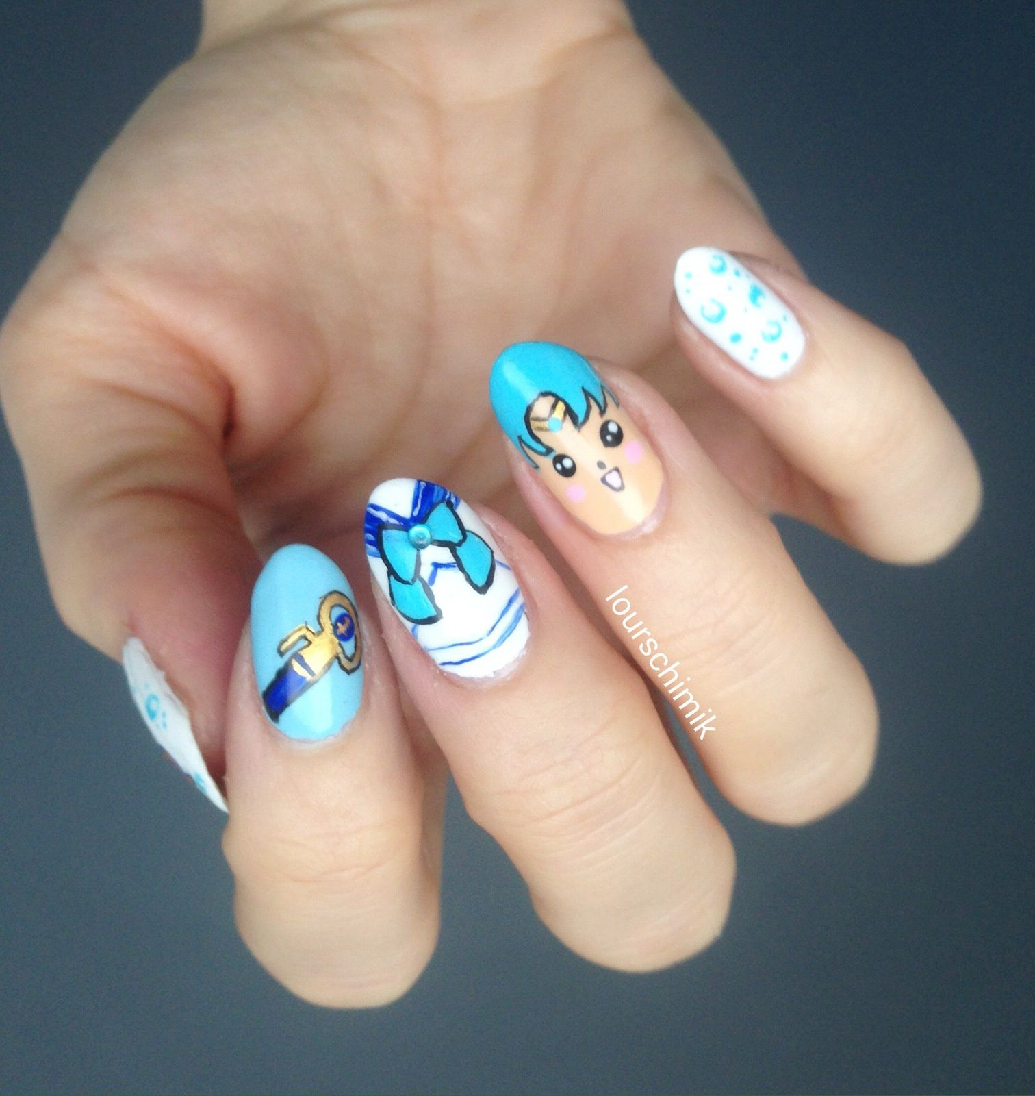 Sailor Mercury nail art