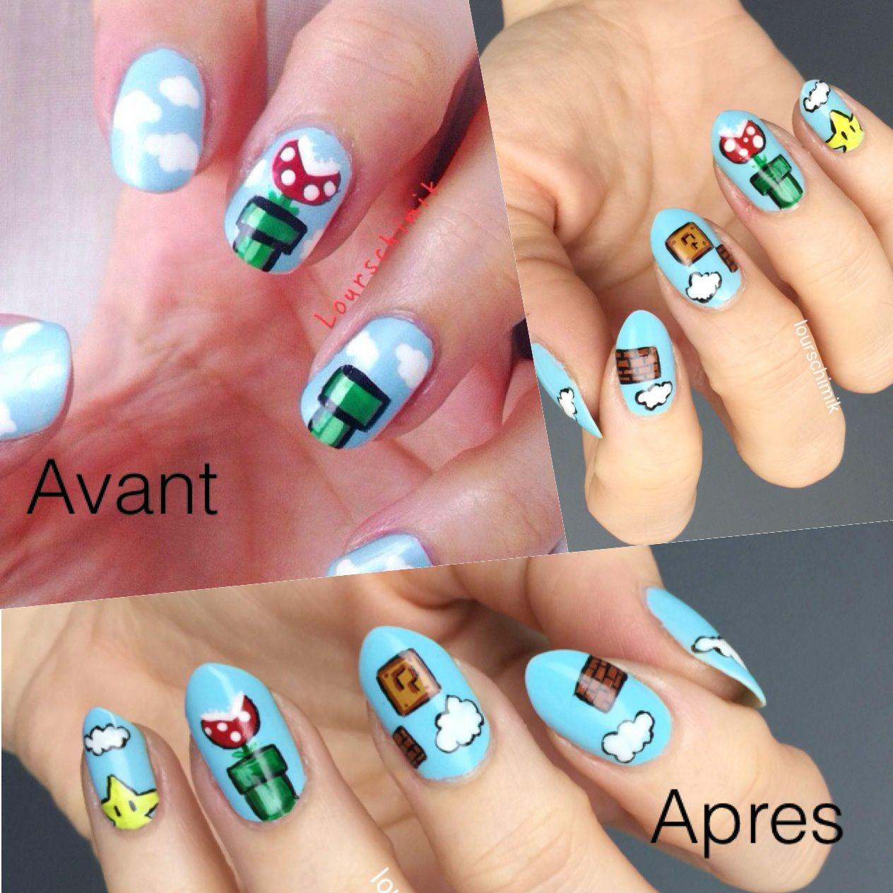 avant / après nail art Mario un an plus tard
