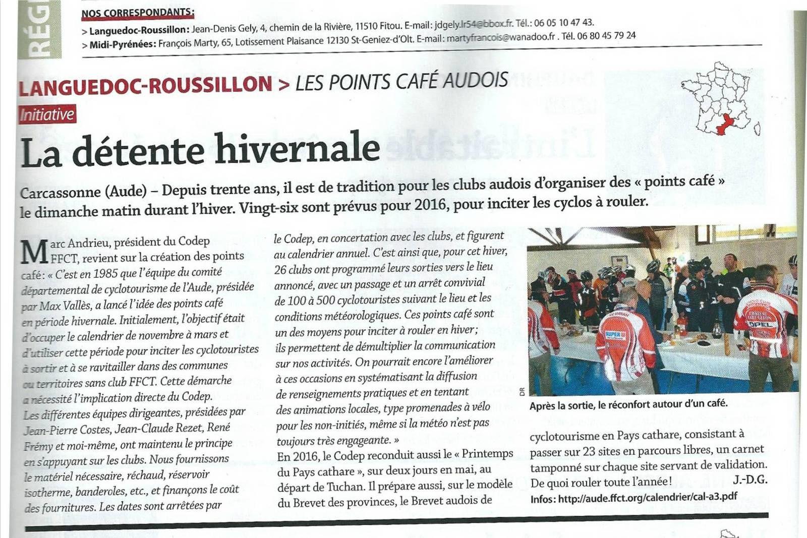 """Article du mensuel """"LE CYCLE"""" du mois de janvier 2016."""