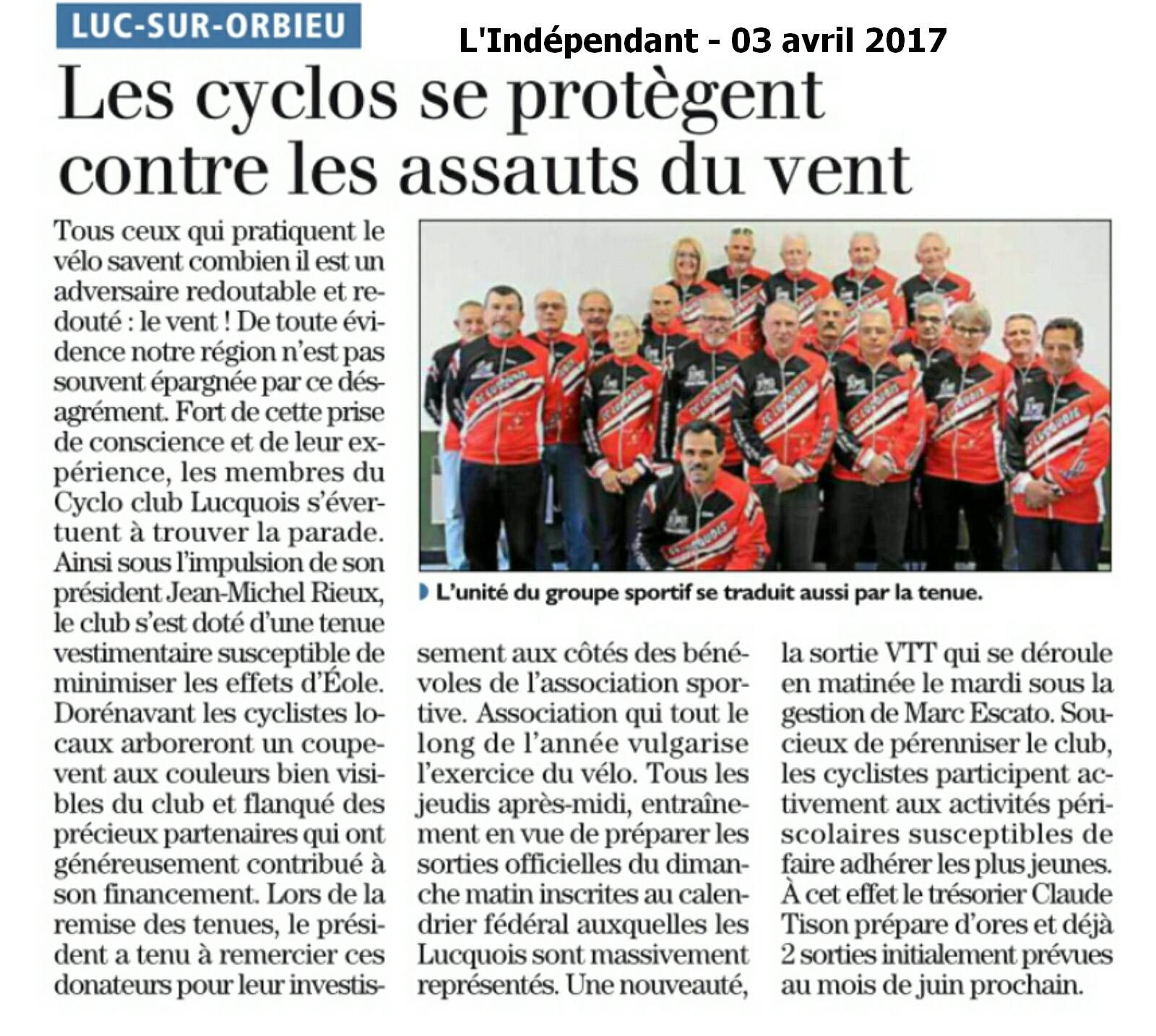 Le Cyclo Club de LUC SUR ORBIEU à l'honneur dans les pages de l'Indépendant