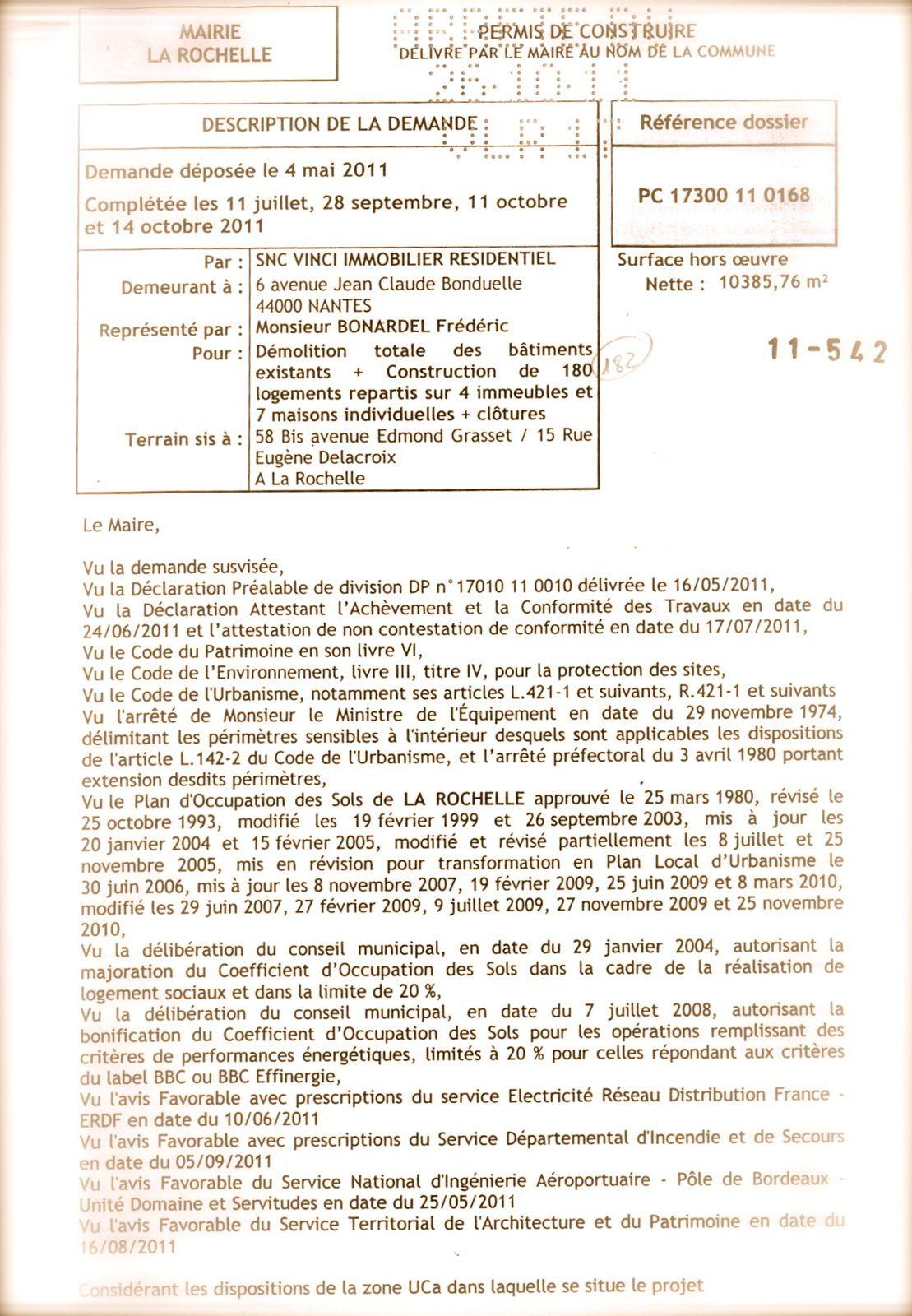 Illusration de la première page du permis de construire. La demande avait été préalablement faite par VINCI Immobilier.