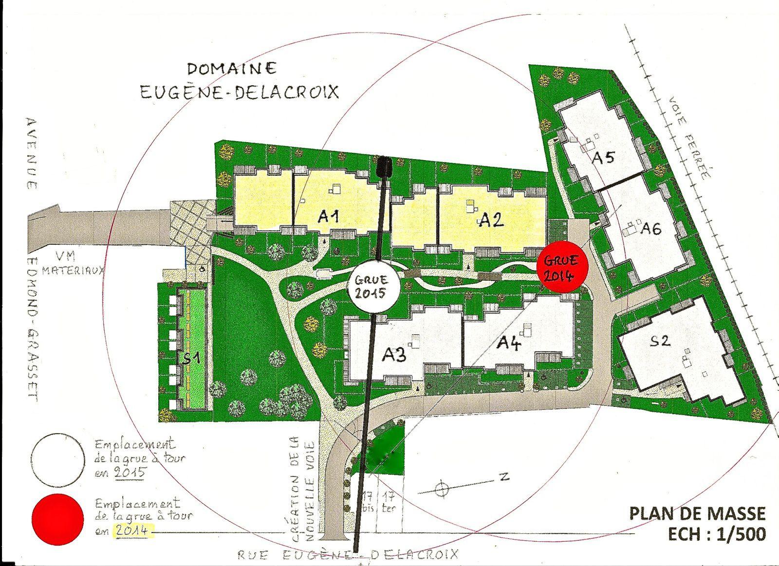 """(1) Le rond blanc """"GRUE 2015"""" indique le nouvel emplacement de la tour de la grue."""
