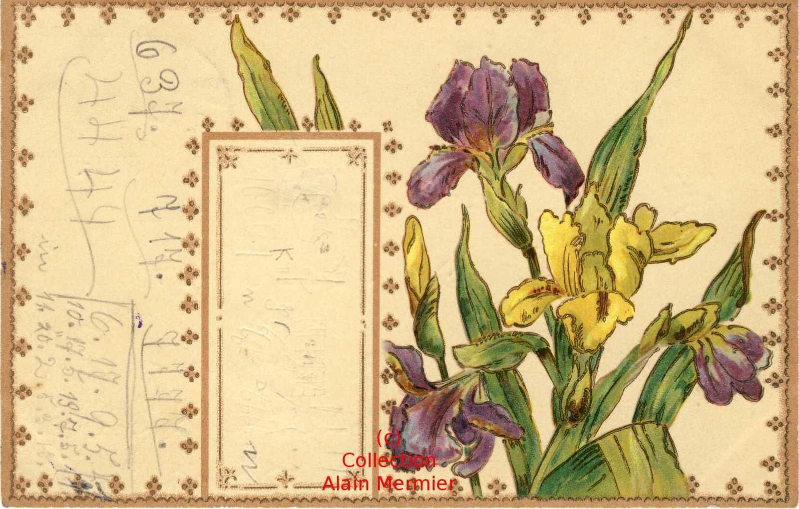 Iris -2303- Postcard coded writing. Ecriture codée. Allemagne 1902.
