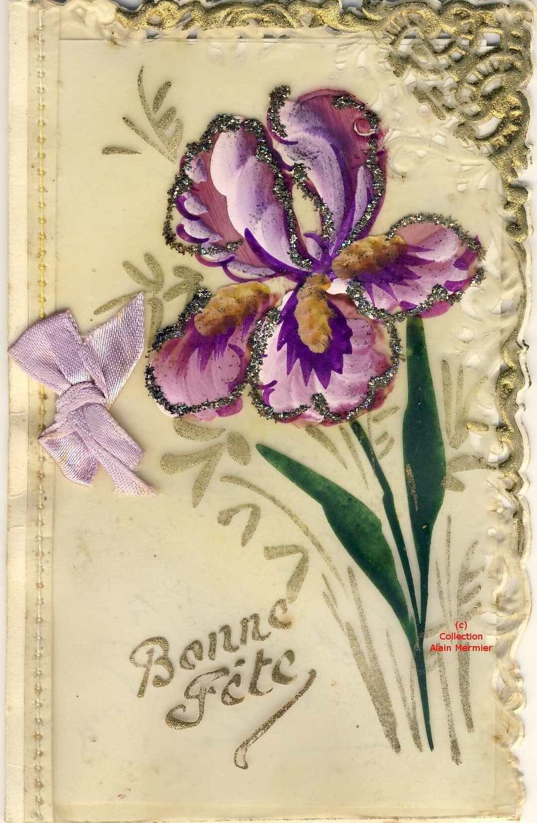 Iris -2257- Peint main sur celluloïd. Bonne fête. Paillettes. 4 pages et noeud. France.