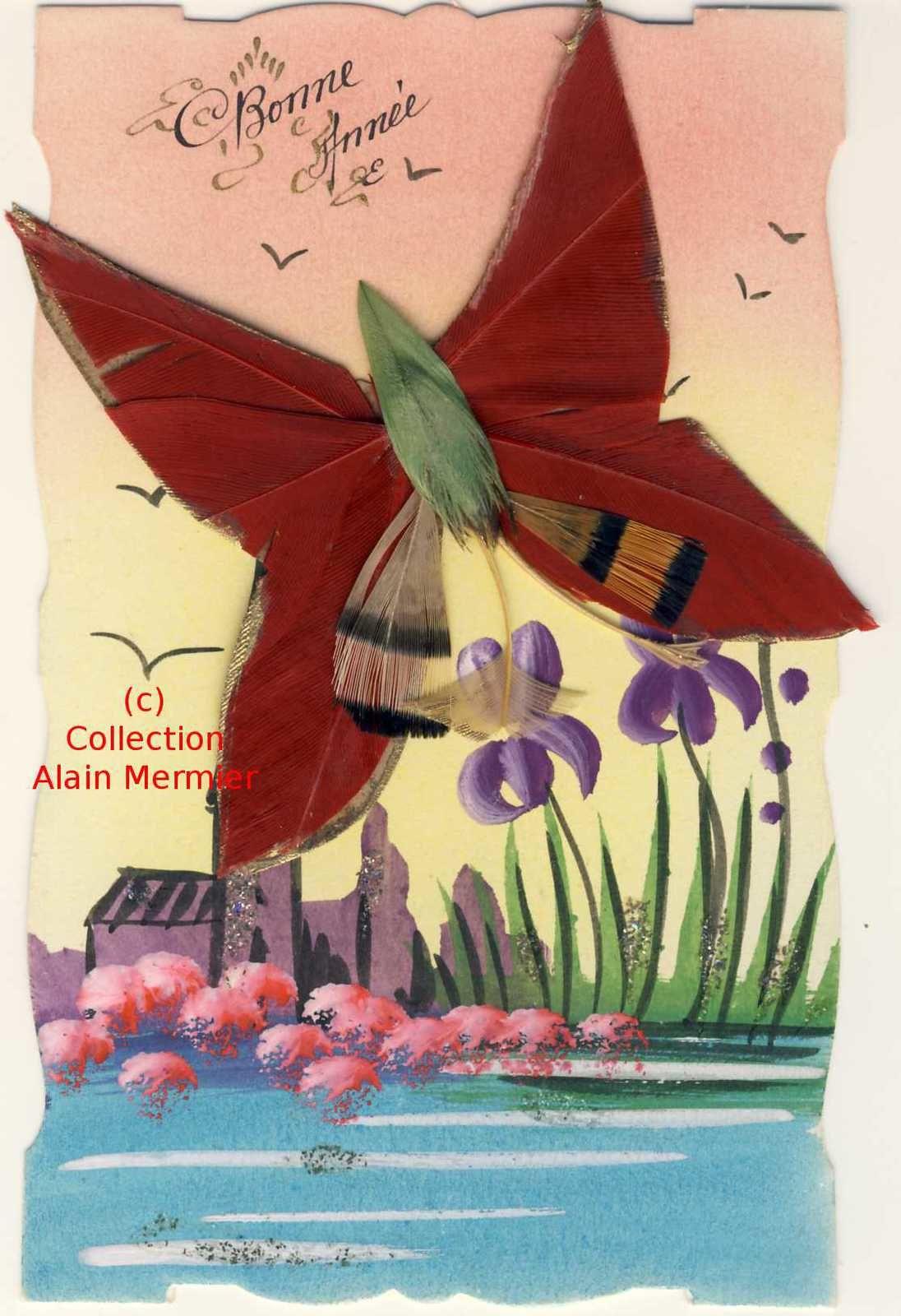 Iris -3.500- Montage ajoutis. Papillon en plume sur peinte main. Suisse. 1932