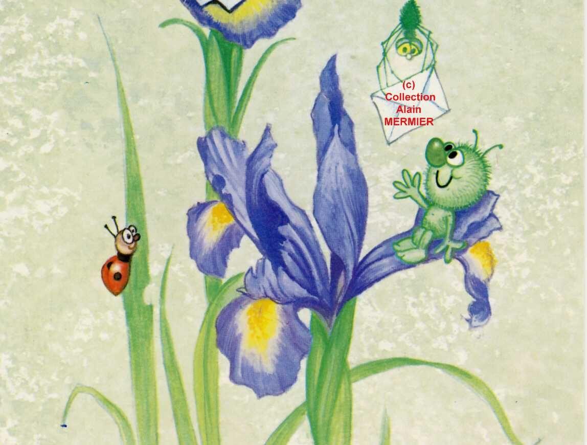 Iris -2194- CPM Iris. Araignée. Coccinelle. France. 1990.