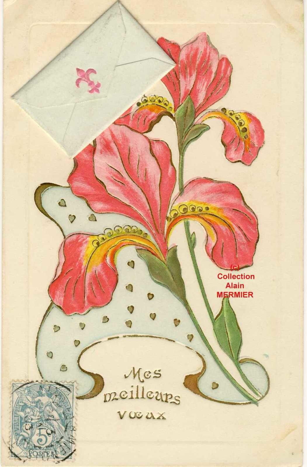 Iris -2170- Mes meilleurs voeux + ajout mini-lettre. France. 1903.