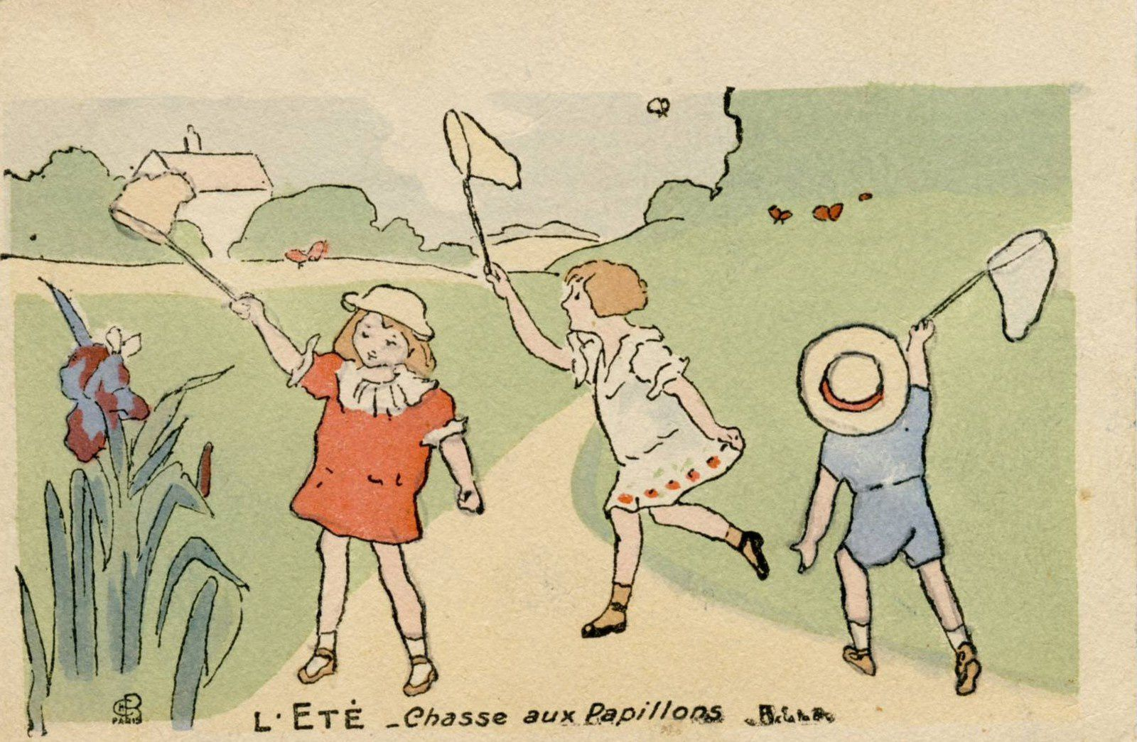 2014-Illustrator Henriette DELALAIN. The summer. The butterfly catching. France.
