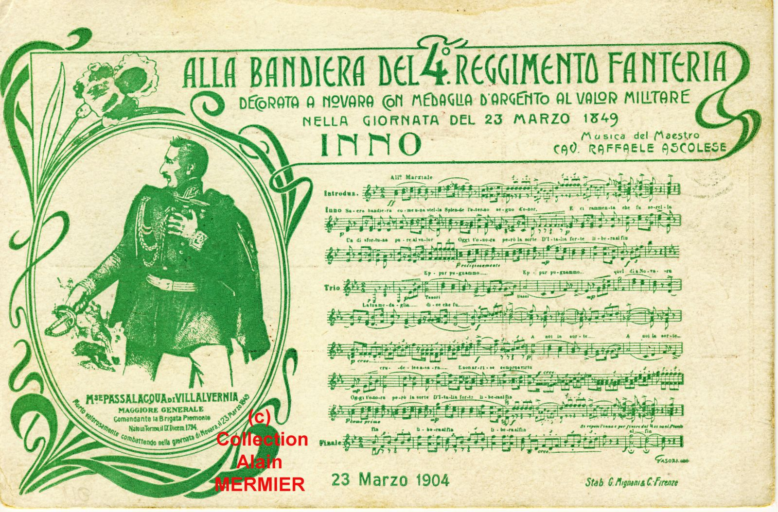-2003- Hymn in the flag of 4 eme Regiment of Infantry. Italy. 1904.