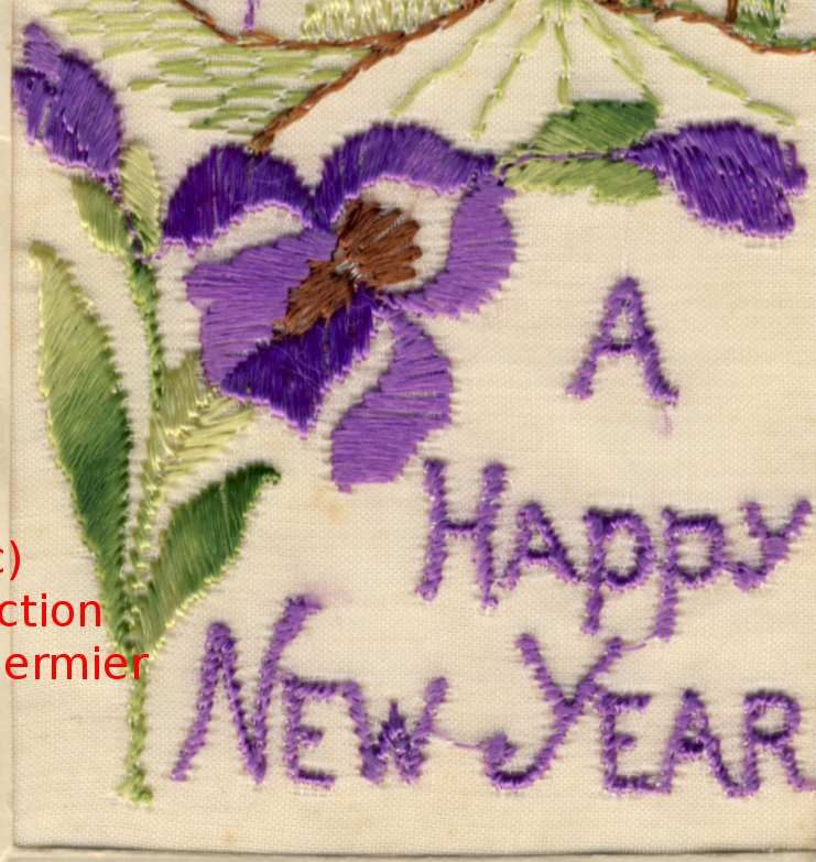 Iris -3587- Brodée. A happy new year. Iris and castle.France. 1916.