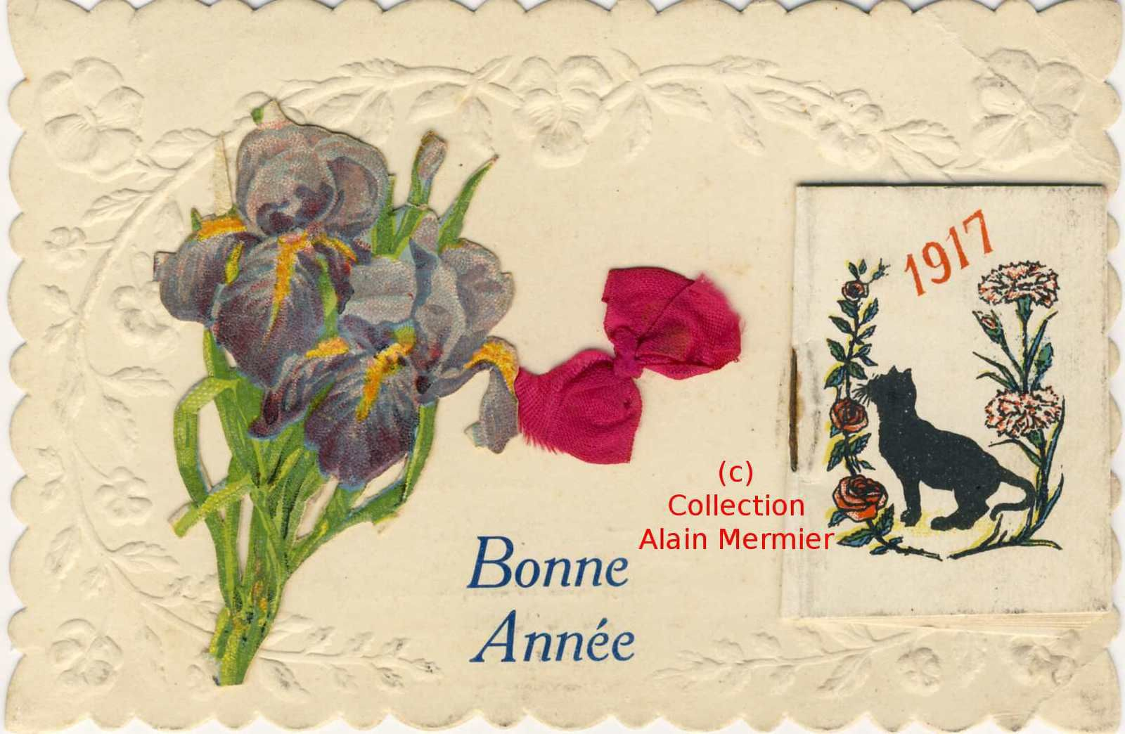 1986 -Assembly. Good year. Iris découpis and small calendar with black cat. France. 1917