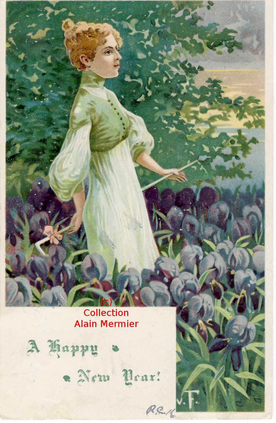 Iris -3192- Monogramme V. F.  Happy new year. Femme dans les iris. USA. 1907.