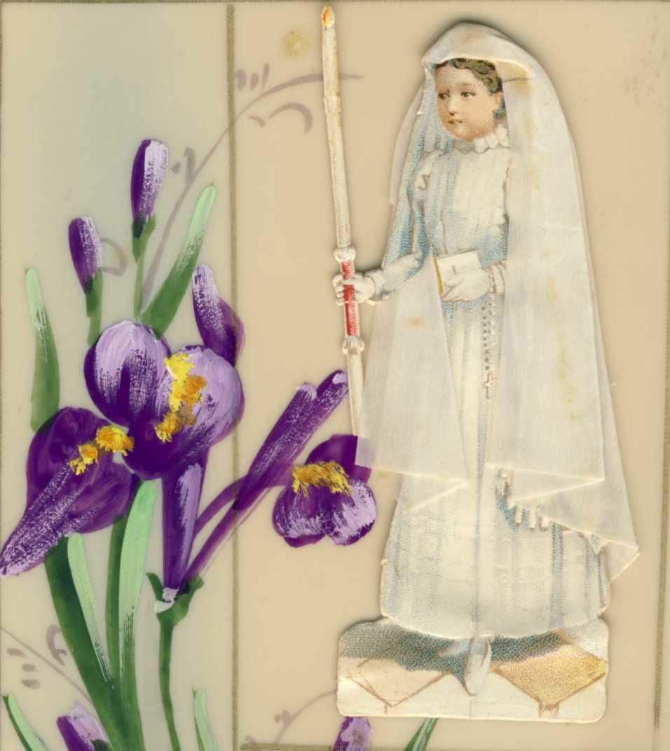 The girl is a sticking added on the card celluloid.Uncertainty for irises ?
