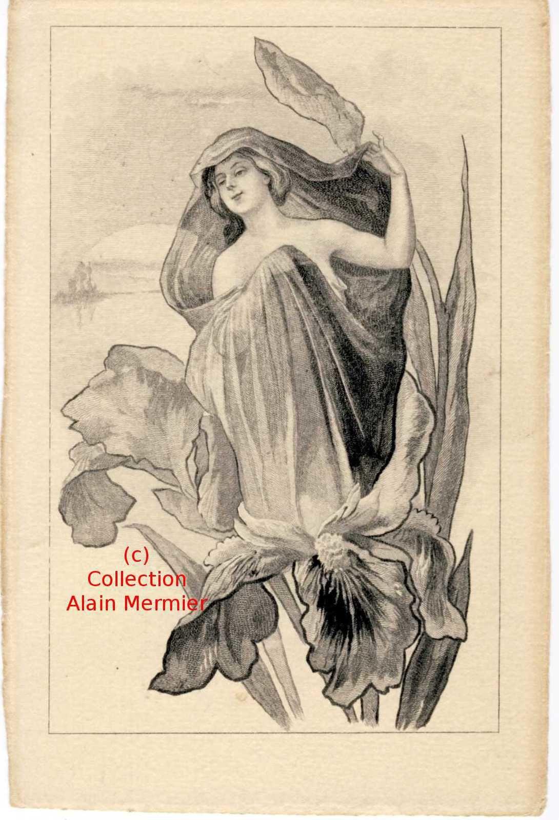 Iris -3539- Anonyme. Femme dans un iris. Avant 1905.